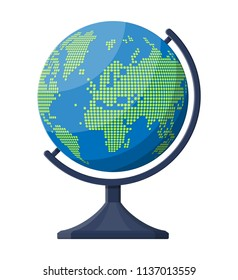 World map silhouette. Globe in dots on plastic stand. Cartography and geography. Vector illustration in flat style