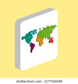 World Map Simple vector icon. Illustration symbol design template for web mobile UI element. Perfect color isometric pictogram on 3d white square. World Map icons for your business project