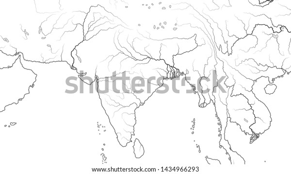 World Map South Asia Region India Stock Vector (Royalty Free ...
