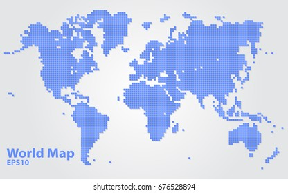World map square map for info-graphic
