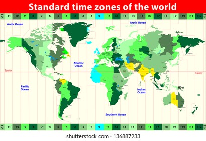 World Map with Standard Time Zones. Vector