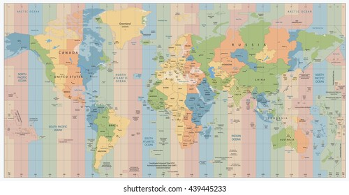 World Map with Standard Time Zones. Vector Illustration.