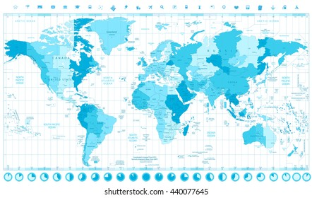 World map time zones stock images royalty free images vectors world map with standard time zones soft tints of blue and clock icons isolated on white gumiabroncs Choice Image
