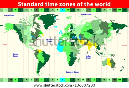 World Map Standard Time Zones Vector Stock Vector (Royalty Free ...
