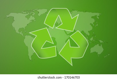 world map with symbol of recycling on green background