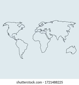 world map symbol. vector illustration outline in simple flat style
