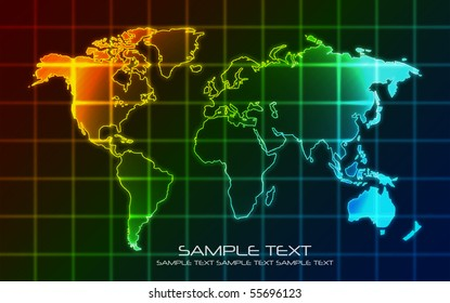 World Map - Technology  Background (Vector)