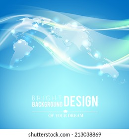 World map technology-style over bright blue background. Vector illustration.