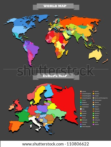 World Map Template Every Country Selectable Stock Vector Royalty