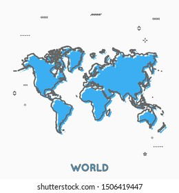 World map in thin line style with small geometric figures. Vector illustration modern concept