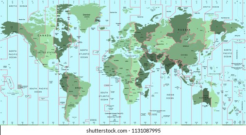 World Map With Time Zone And Country Name Template Design Vector