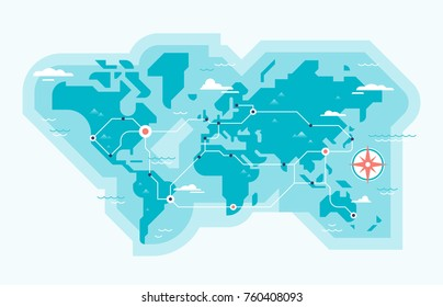World map with trade routes or flight paths in modern geometric style. Global business and international connections concept. Vector illustration.