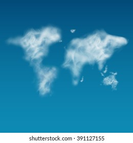 World map unshaped clouds in the blue sky. Realistic. Steam, smoke. Eco friendly, Ecofriendly, Go Green.