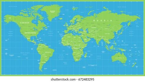 World Map Vector Blue Green. High detailed illustration of worldmap