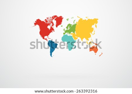 World map vector continent border retro stock vector royalty free world map vector with continent border in retro color palette gumiabroncs Image collections