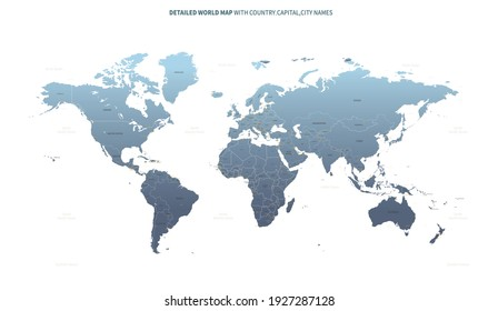 World map. vector world map with country and capital name.