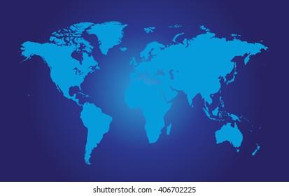 World map vector flat blue