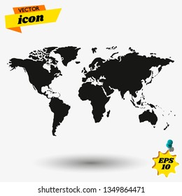World map vector, Flat Earth, gray map template for web site pattern, anual report, inphographics. Globe similar worldmap icon.