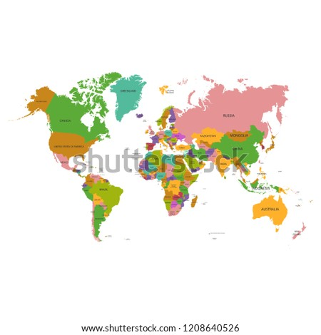 World Map Vector Flat Earth Map Stock Vector Royalty Free