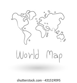 World Map Vector  freehand drawing illustration
