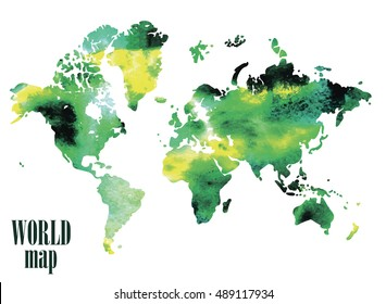 World map. Vector freehand drawing on a background of ink spots . Continents . America, Africa , Australia , Evroppe .