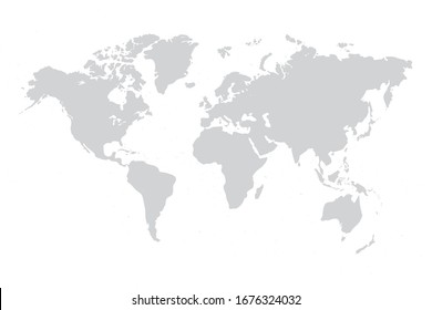 World map vector grey isolated on white background. Flat Earth,  Globe worldmap icon. Travel worldwide eps 10