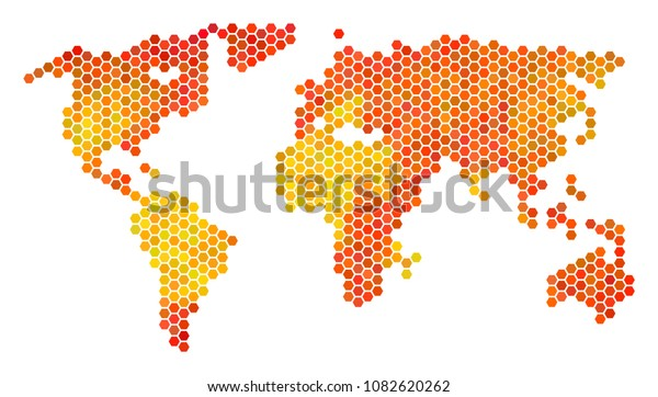 World Map Vector Hex Tile Territorial Stock Vector (Royalty Free
