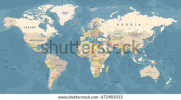 Вектор карты мира. Высокая детальная иллюстрация карты мира