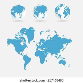 World map, vector illustration