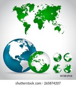 World map, vector illustration.