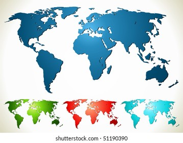 World map. Vector illustration in different color.