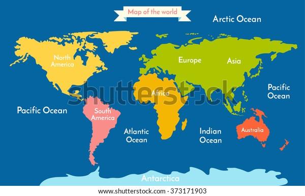 World Map With Oceans World Map Vector Illustration Inscription Oceans Stock Vector