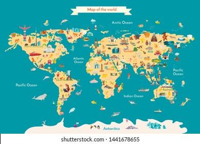 World map vector illustration with landmarks