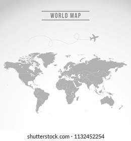 World map vector isolated on white background. Flat Earth gray similar template for web site pattern, cover, anual report, inphographics. Globe worldmap icon. Travel country silhouette backdrop.