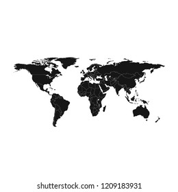 World map vector isolated on white background. Flat Earth black similar template for web site pattern, cover, anual report, inphographics. Globe worldmap icon. Travel country silhouette backdrop.