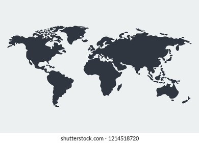 World map vector, isolated on white background. Flat Earth, gray map template for web site pattern Gray blank vector world map. Isolated on white background.Globe similar world map icon.