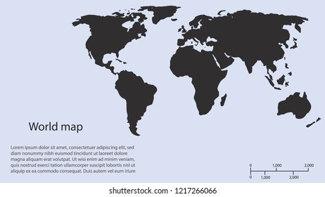 World map vector, isolated on white background. Flat Earth, map template for web site pattern, anual report, inphographics. Globe similar worldmap icon. Travel worldwide