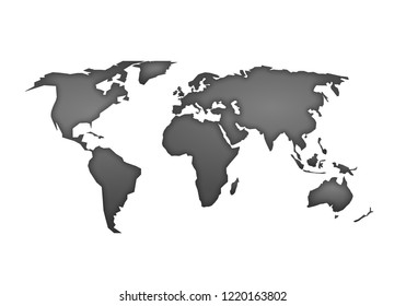 World map vector, isolated on white background. Flat Earth, gray map template for web site pattern, anual report, inphographics. Globe worldmap material icon. Travel worldwide, silhouette backdrop.