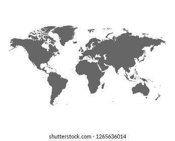 World map vector isolated on white background. World map Flat Earth view detailed