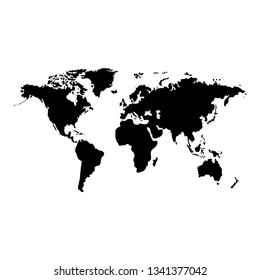 World map vector, isolated on white background. Flat Earth, gray map template for web site pattern, anual report, inphographics. Travel worldwide, map silhouette backdrop.