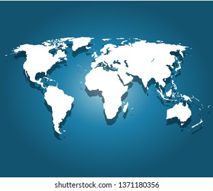 World map vector, isolated on blue background. Flat Earth, white map template for web site pattern, anual report, infographics. Globe similar world map icon. Travel worldwide, map silhouette backdrop.