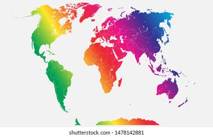 World map vector isolated on background. Flat Earth template for pattern, report, inphographics, banner, backdrop. World map templates, patterns. Global worldwide travel trip. Rainbow, lgbt flag.