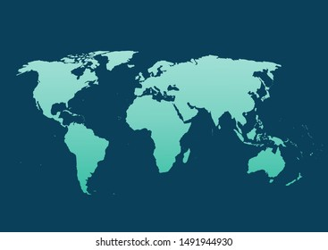 World map vector, isolated on blue background. Flat Earth, map template for web site pattern, anual report, inphographics. Travel worldwide, map silhouette backdrop.