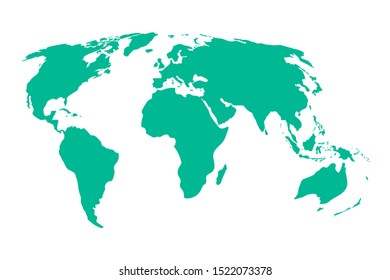 World map vector, isolated on white background. Flat Earth, cyan map template for web site pattern, anual report, inphographics. Globe similar worldmap icon. Travel worldwide, map silhouette backdrop.