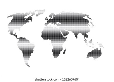 World map vector, isolated on white background. Gray dot map template for web site pattern, anual report, inphographics. Globe similar worldmap icon. Travel worldwide, map silhouette backdrop.