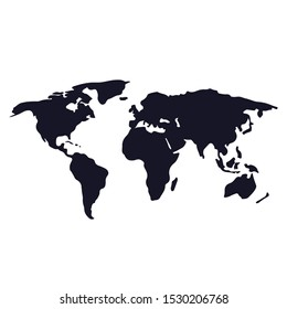 World map vector, isolated on white background. Flat Earth, black map template for web site pattern, anual report, inphographics. Globe similar worldmap icon. Travel worldwide, map silhouette backdrop