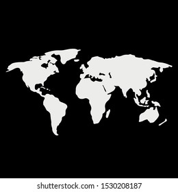 World map vector, isolated on black background. Flat Earth, white map template for web site pattern, anual report, inphographics. Globe similar worldmap icon. Travel worldwide, map silhouette backdrop