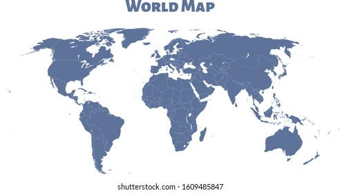 World map vector, isolated on white background. Flat Earth, blue map template for web site pattern, anual report, inphographics. Globe similar worldmap icon. Travel worldwide, map silhouette backdrop.