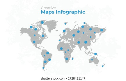 World map vector, isolated on white background with grunge background. Gray map template with blue pin, anual report, inphographics. Globe similar worldmap icon. Vector illustration eps 10.