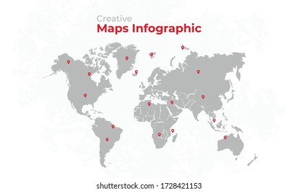 World map vector, isolated on white background with grunge background. Gray map template with red location pin, anual report, inphographics. Globe similar worldmap icon. Vector illustration eps 10.
